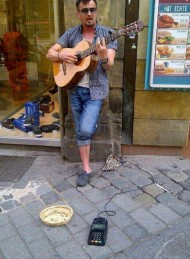 Busker Accepts Credit Card